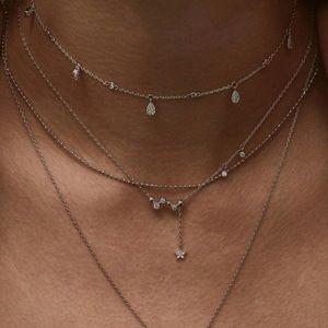 "Jewelry - 🆕PP S925 13"" Choker AAA CZ 1"" Dangling Pave Star"